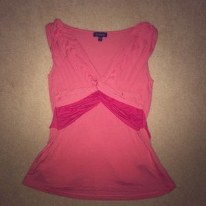 Bebe pink knotted low cut top